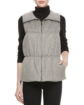 Colt Cashmere Puffer Vest, Nickel Melange