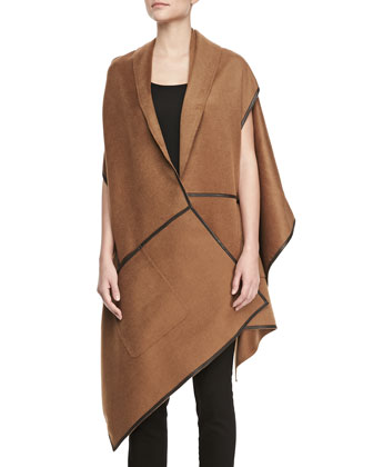 Cashmere Leather-Trim Wrap