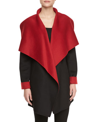 Relaxed Shawl Collar Coat, Black/Siren