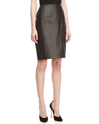 Paneled Leather Slim Skirt