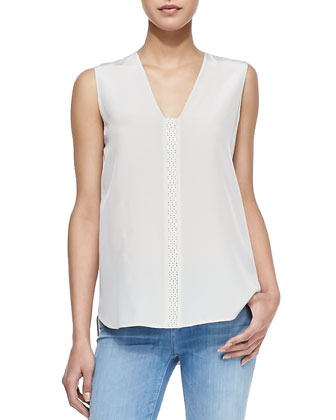 Leather-Front Silk Blouse, Beige