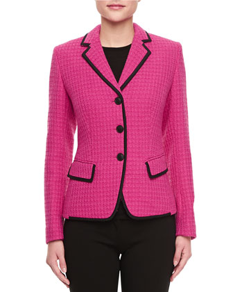 Marchand Notch-Collar Tweed Jacket, Cerise