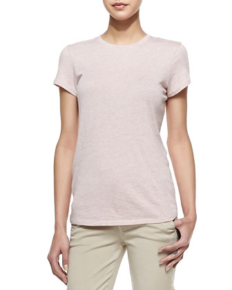 Short-Sleeve Knit Tee, Heather Blush