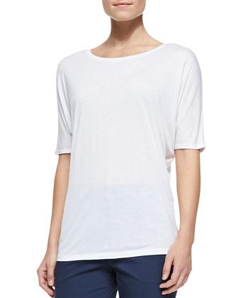 Half-Sleeve Slub Tee, white