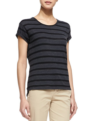 Striped Rolled-Sleeve Slub Top, Black
