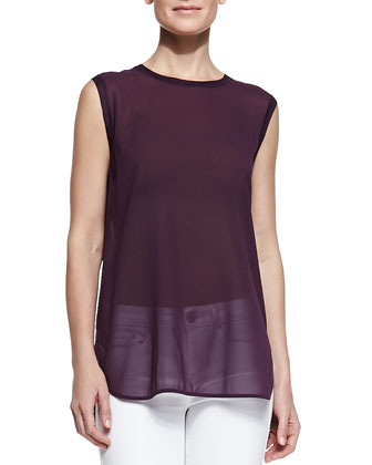 Sleeveless Semisheer Trimmed Top