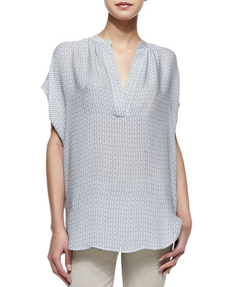 Printed Split-Neck Popover