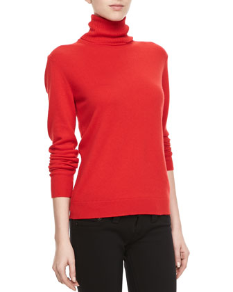 Cashmere Long-Sleeve Turtleneck, Cherry