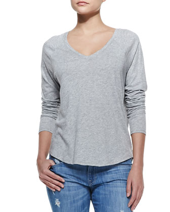 Long-Sleeve V-Neck Tee, Heather Gray