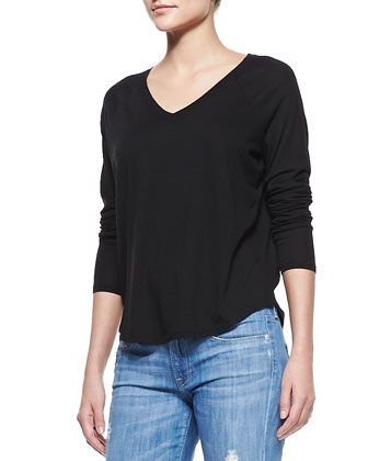 Long-Sleeve V-Neck Tee, Black