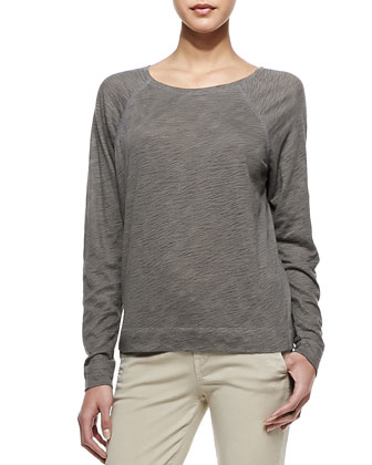 Long-Sleeve Cotton Tee, Dusk