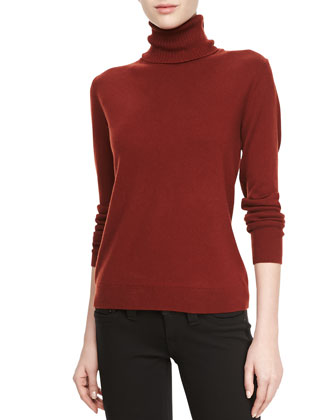 Cashmere Long-Sleeve Turtleneck, Redwood Melange