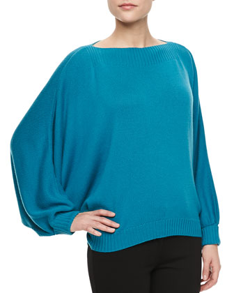 Dolman-Sleeve Cashmere Sweater, Aquamarine