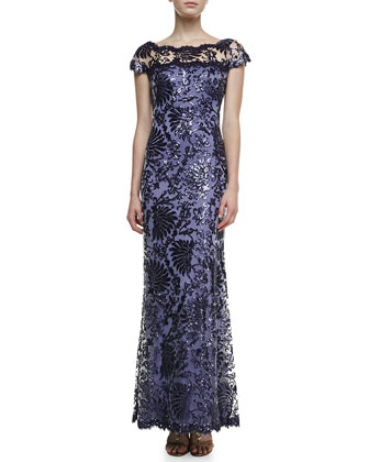 Illusion-Neck Lace Gown, Purple