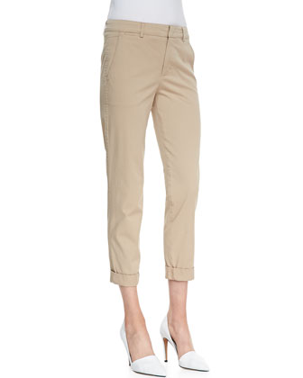 Cuffed Twill Boyfriend Trousers