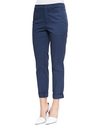 Cuffed Twill Boyfriend Trousers, Coastal