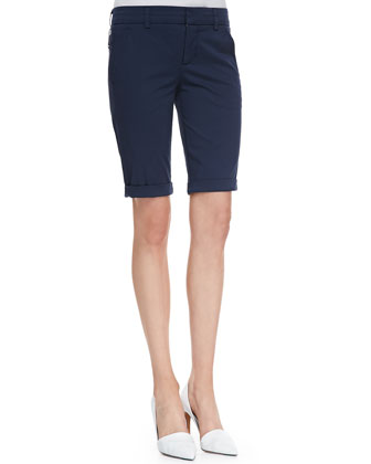 Rolled-Trim Slub Tee & Side-Buckle Bermuda Shorts