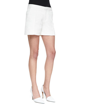 Pintucked Relaxed Jacquard Shorts