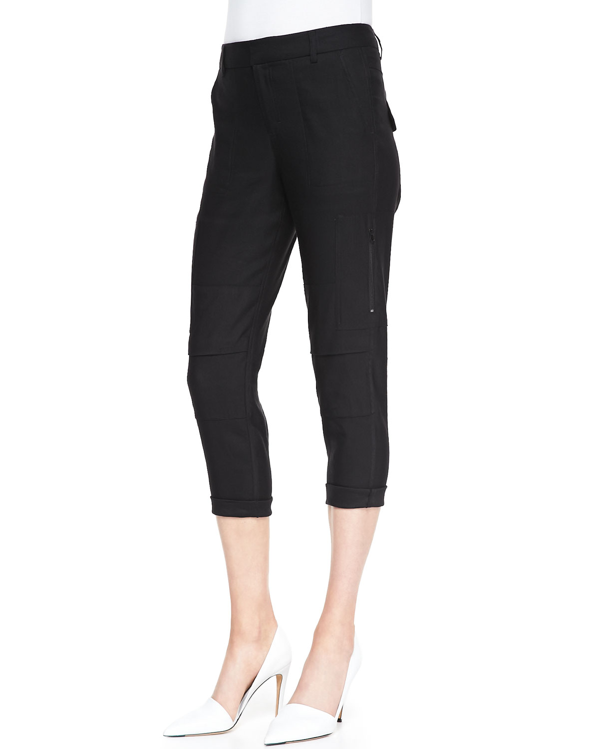Womens Slim Cropped Cargo Pants   Vince