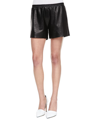 Leather-Trim Knit Sweatshirt & Perforated Leather Boxer Shorts