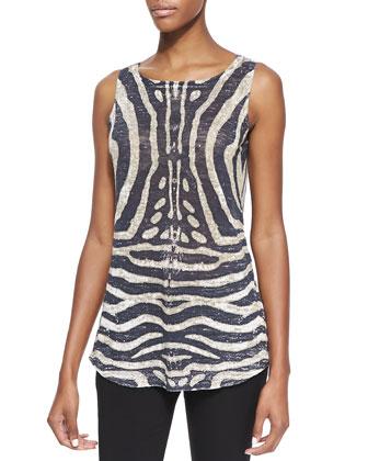Tiger-Print Linen-Blend Top