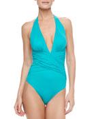 Zulu Halter One-Piece Swimsuit, Emerald Green