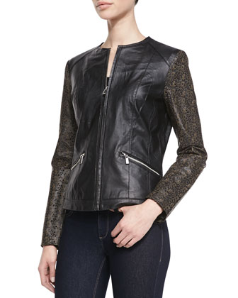 Leather Laser Cutout-Sleeve Moto Jacket