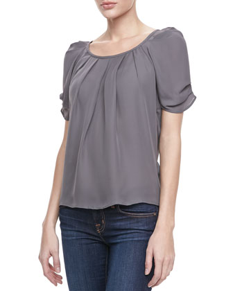 Eleanor Pleated Puff Blouse