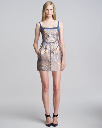 Sleeveless Metallic Cloque Minidress