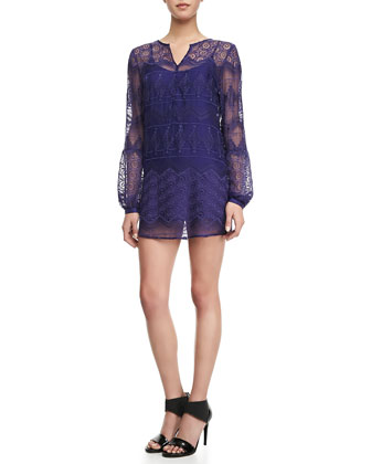 Long-Sleeve Lace Shirtdress