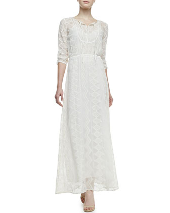 Embroidered-Lace Maxi Dress