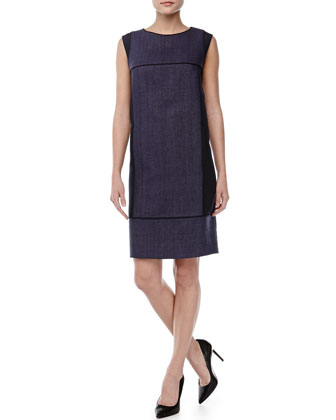 Sleeveless Shift Dress with Crepe Panels