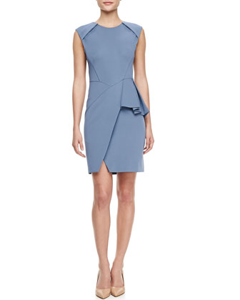 Techno-Jersey Peplum Dress, Heron Blue