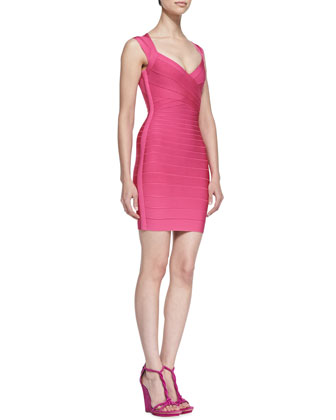 V-Neck Sleeveless Short Bandage Dress