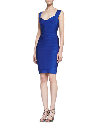 Sweetheart-Neck Sleeveless Bandage Dress, Blue
