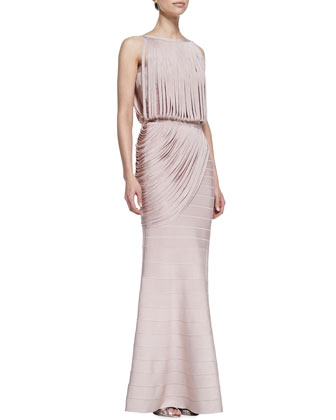 Boat-Neck Draped Fringed Gown