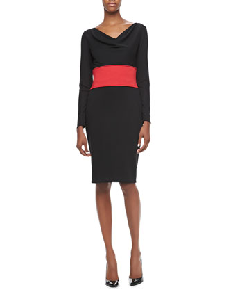 Long-Sleeve Cowl-Neck Banded-Waist Dress
