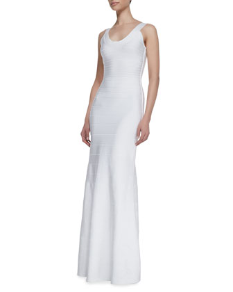 Combo Scoop-Neck Long Gown