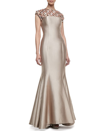 Cap-Sleeve Beaded-Neck Gown