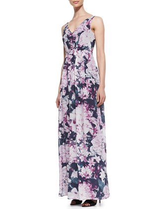 Glam Garden Silk Maxi Dress