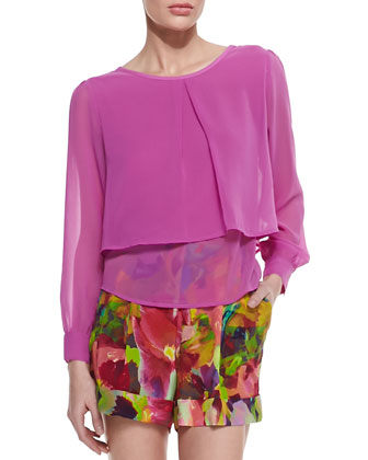 Velvet Bouquet Georgette Long-Sleeve Top