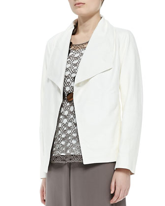 Soft Leather Boxy Jacket, Linen Corded Sheen Shell, Stretch Silk Jersey ...