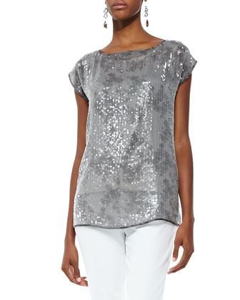 Sequin and Silk Top & Organic Skinny Ankle Jeans