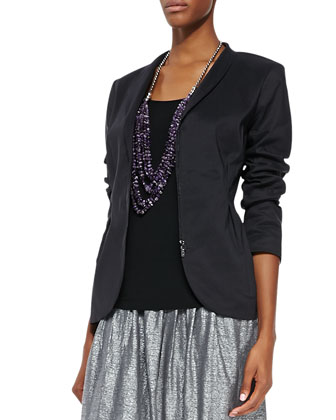 Ramie Shawl-Collar Peplum Jacket