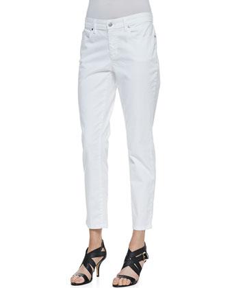 Printed Silk Chiffon Top & Organic Denim Skinny Ankle Jeans, Petite