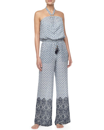 Baja Printed Silk Jumpsuit Coverup