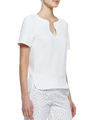 Pearle Short-Sleeve Top & Lenore Eyelet Cropped-Ankle Pants
