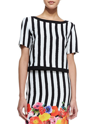 Clio Striped Short-Sleeve Top & Botany Floral Striped Skirt