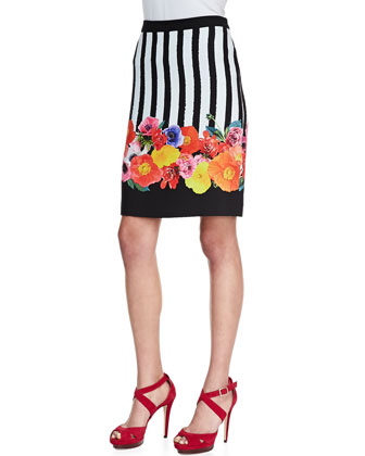 Botany Floral Striped Skirt
