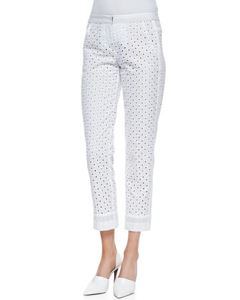 Lenore Eyelet Cropped-Ankle Pants
